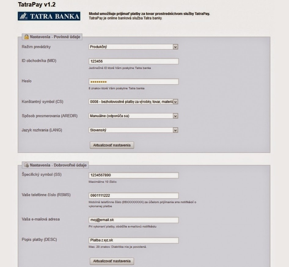 TatraPay Account Settings Screen
