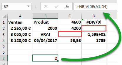 La fonction NBVIDE