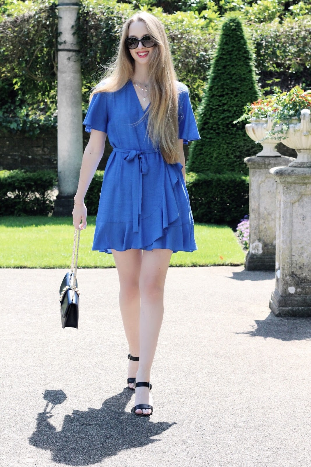 Cobalt Blue Ruffle Wrap Dress