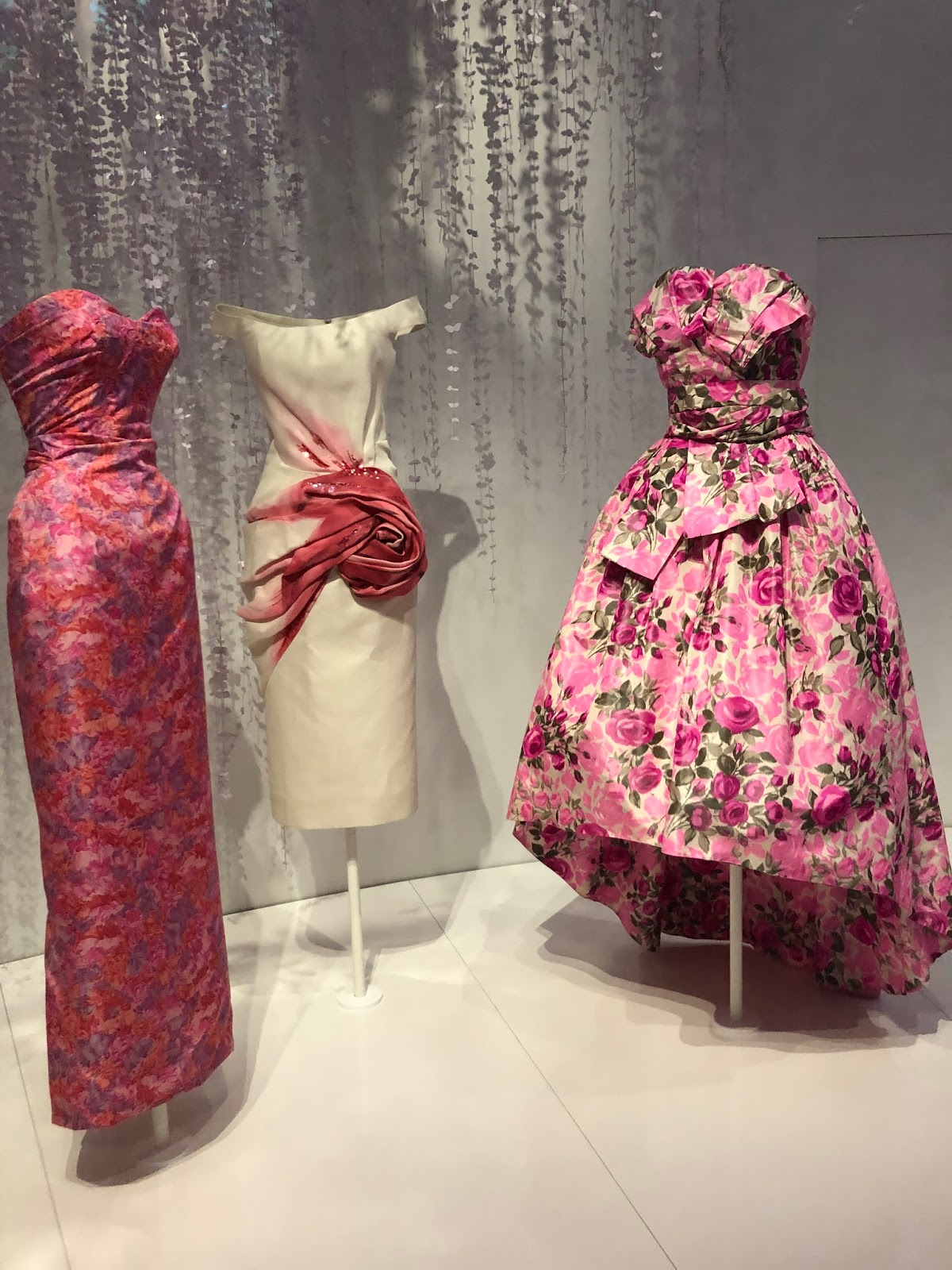 christian dior exhibition v and a floral dresses
