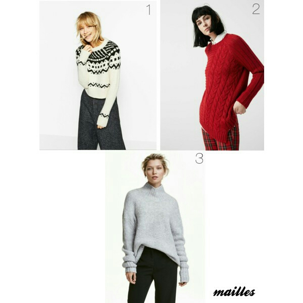1. Pull court jacquard ZARA 2. Pull-over combiné en maille MANGO 3. Pull col roulé H&M