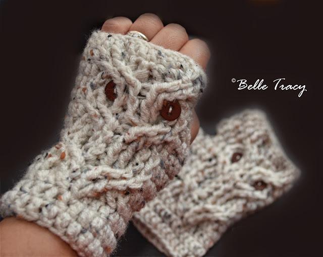 free crochet pattern owl fingerless mitts