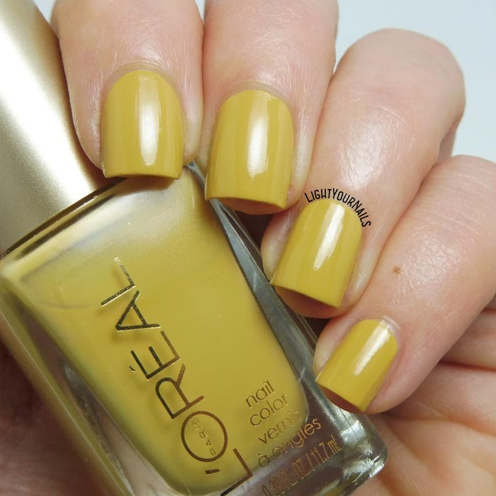 Smalto giallo senape L'Oreal The Perfect Trench mustard yellow creme nail polish #nails #unghie #lightyournails #loreal