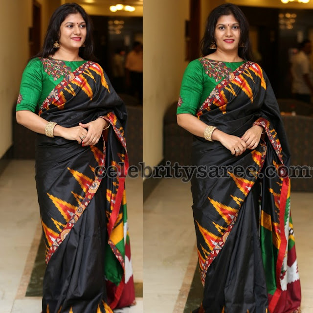 Black Saree Kalamkari Blouse