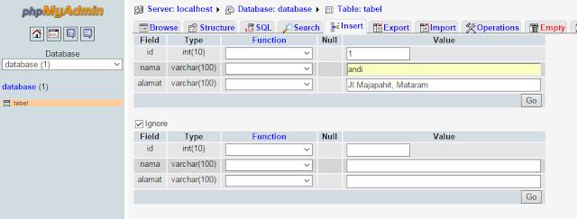 contoh data yang telah di insert