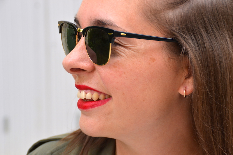 clubmaster Ray Ban et rouge mat arcencil