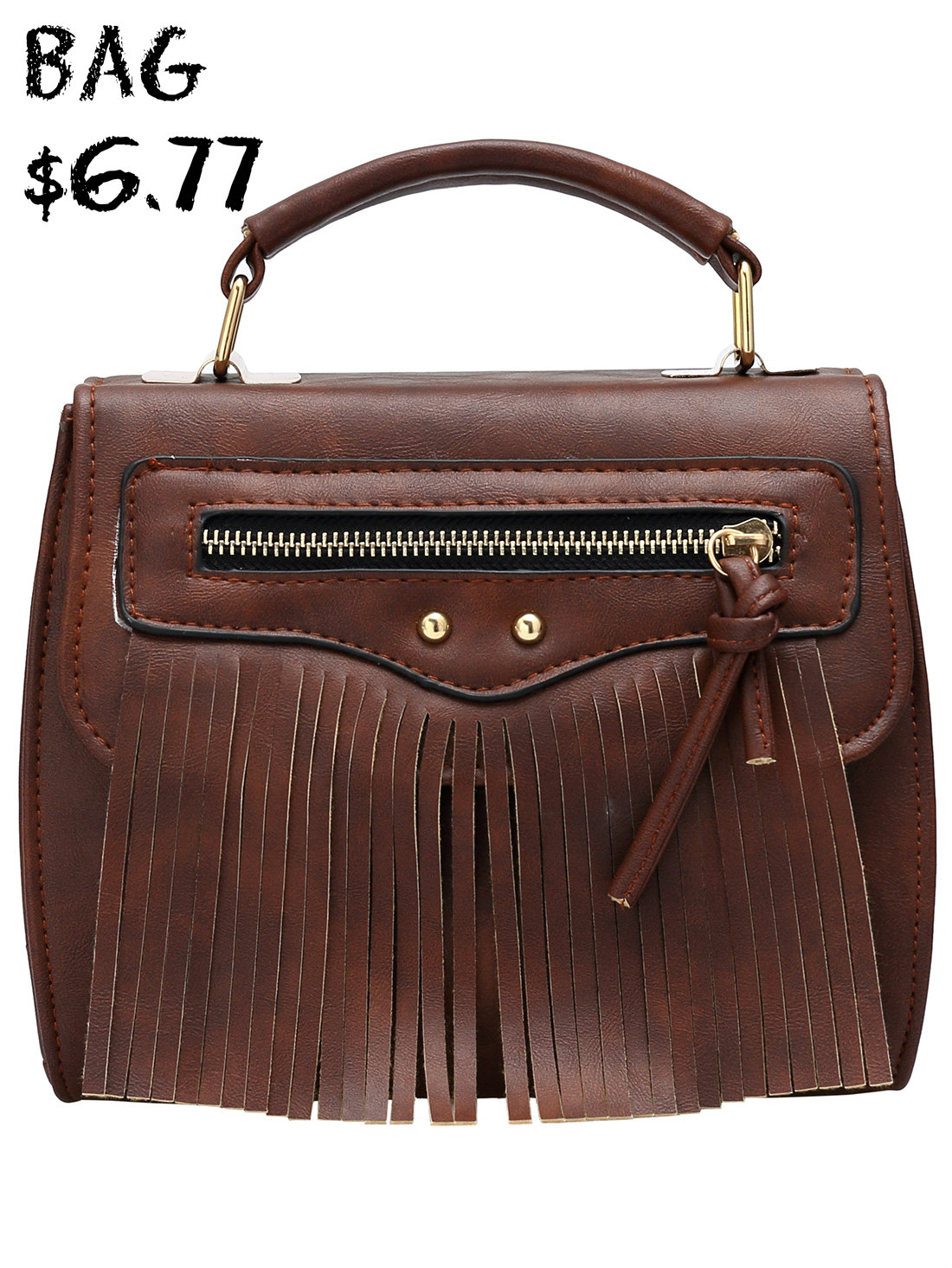 Brown Zipper Tassel PU Bag