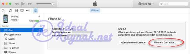 iPhone'a Geri Yükle