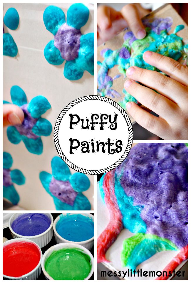 Homemade microwave puffy paint recipe (fun process art painting technique for kids)