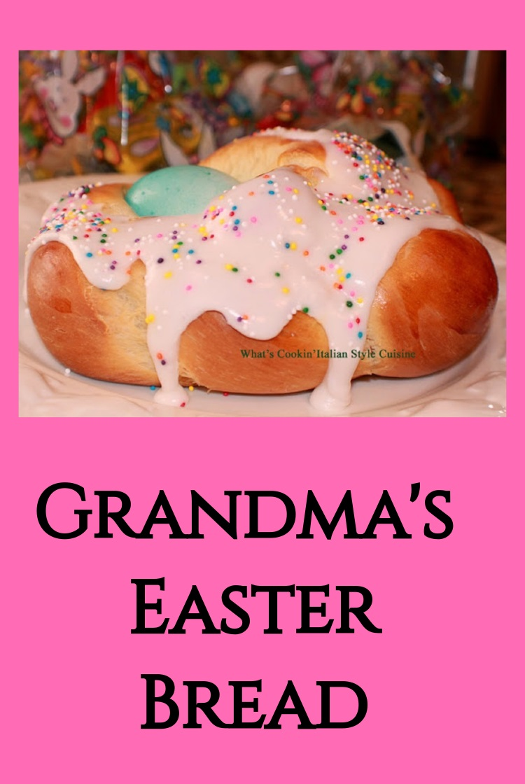 Frosted Easter Bread with hard boiled eggs and sprinkles