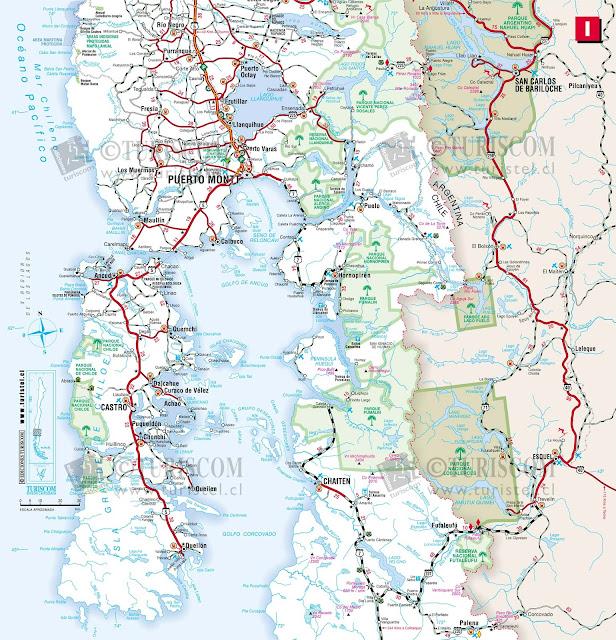 Mapa da Região de Los Rios - Chile