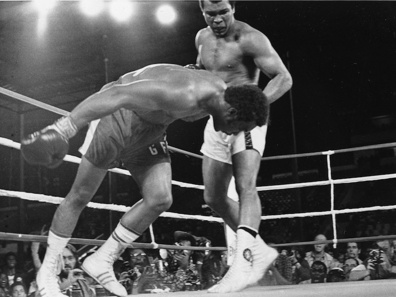 "Muhammad Ali vs. George Foreman ""Rumble in the Jungle"", photo by Associated Press."