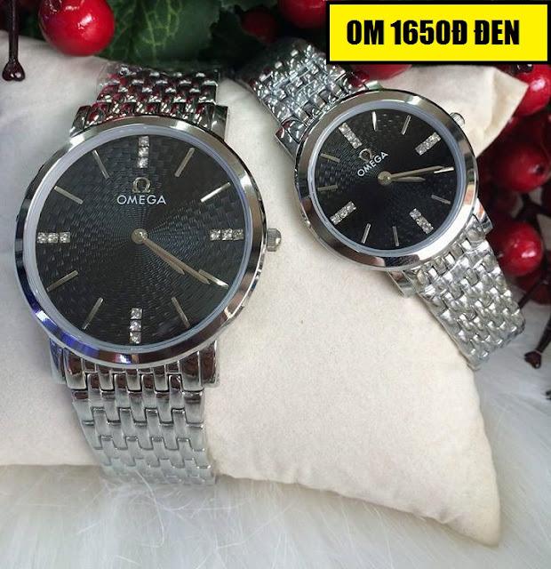 Đồng hồ cặp đôi Omega 1650D đen