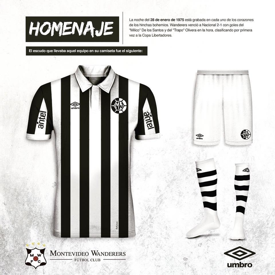 La maglia di Montevideo Wanderers è a strisce verticali in bianco e nero  con polo bianche. Il grande clou è lo scudo retrò che onora il simbolo del  club nel ... 9ba78e6e25d10