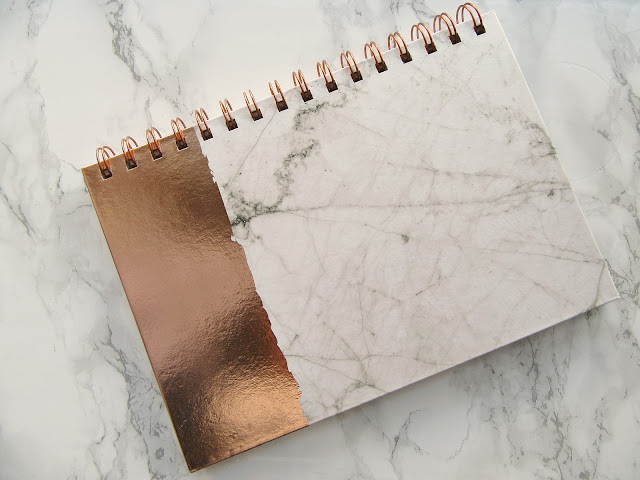 Primark Notebook rose gold and marble