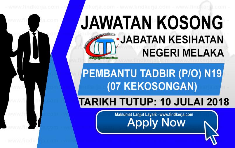 Jawatan Kerja Kosong Jabatan Kesihatan Negeri Melaka logo www.ohjob.info www.findkerja.com julai 2018