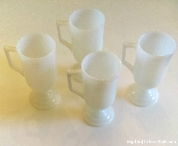 vintage milk glass Irish coffee mugs