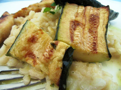 Creamy risotto and roasted zucchini