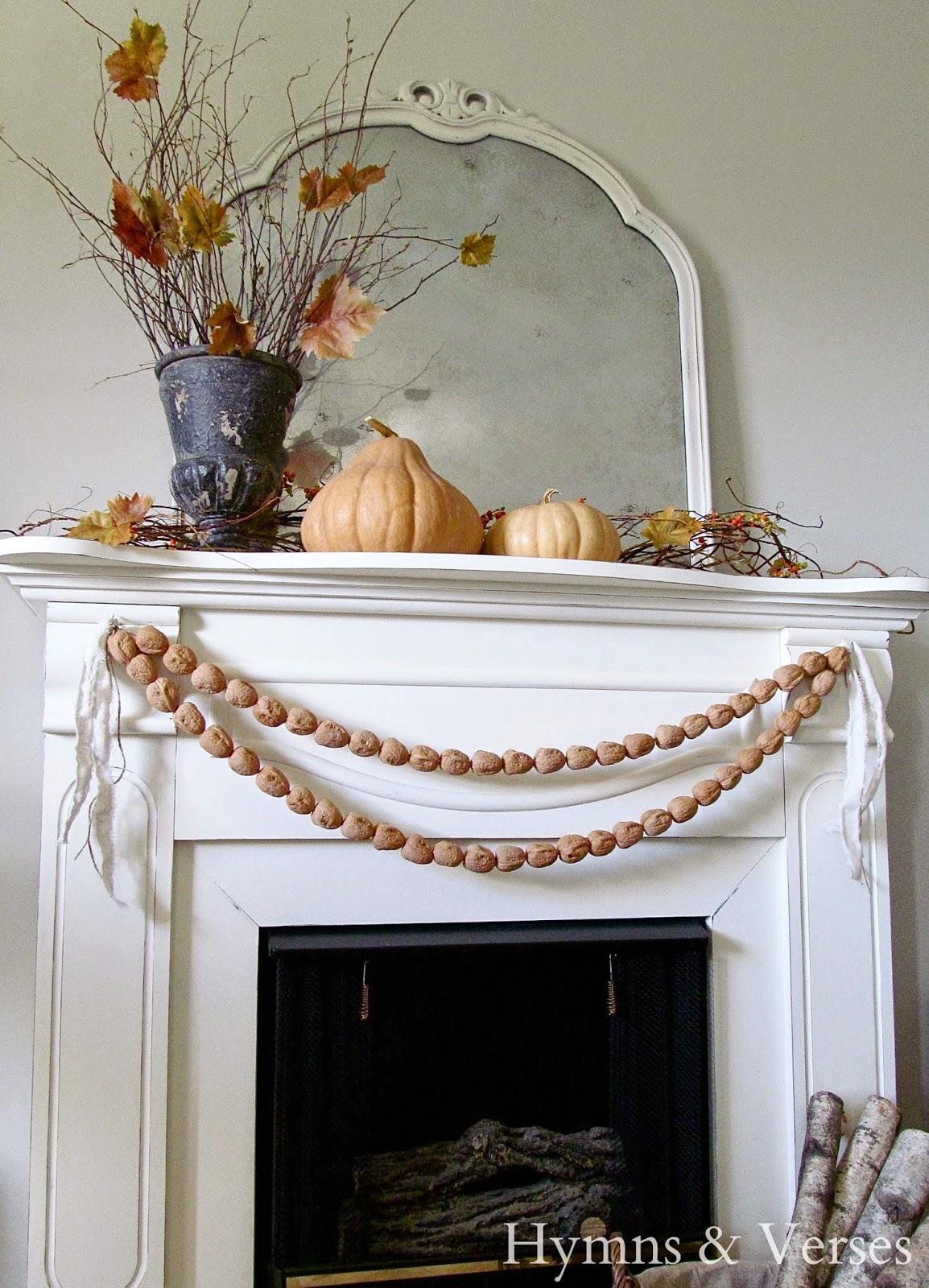 Fall Fireplace Mantel Decorating Ideas: Fall Mantel With Walnut Garland