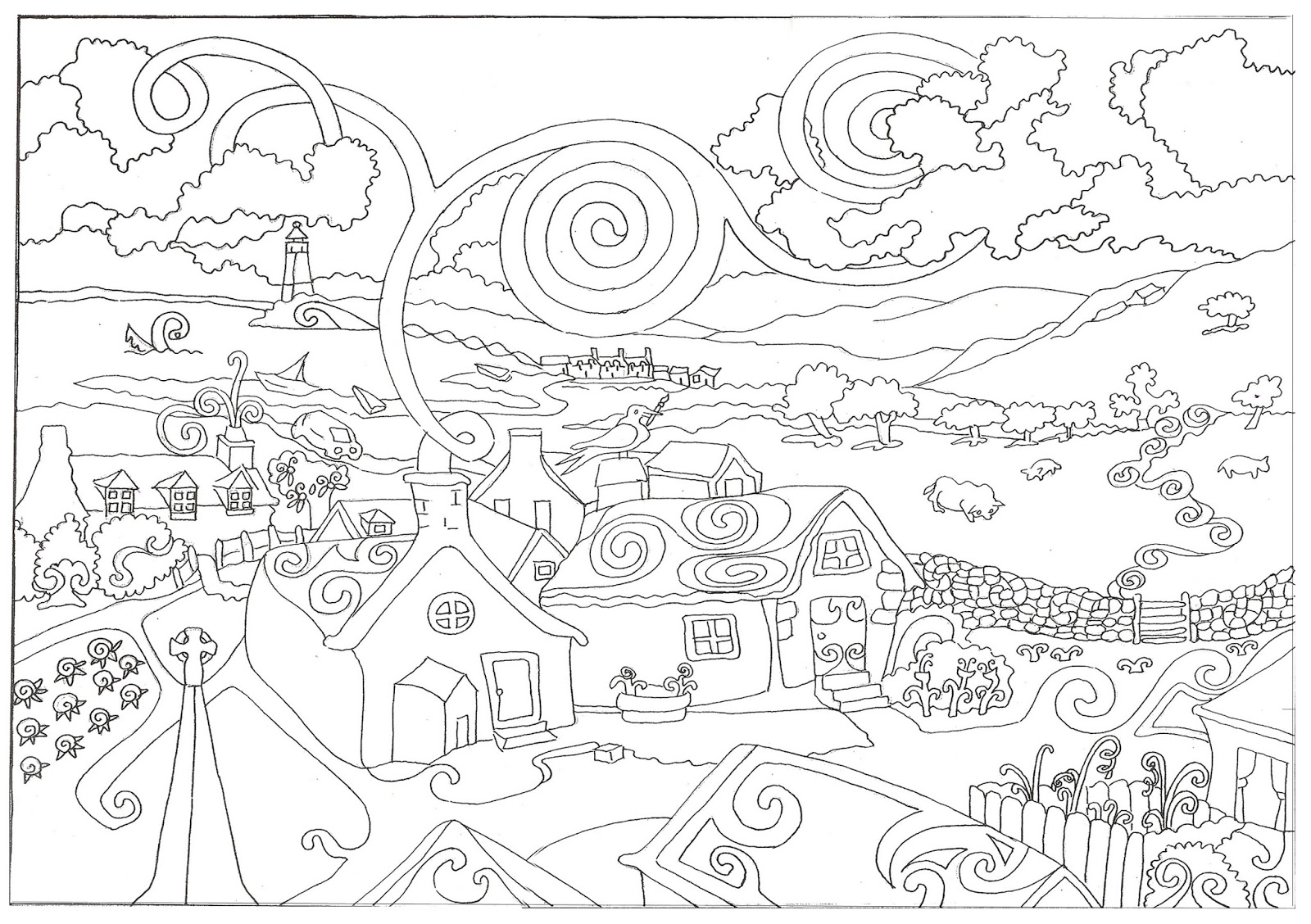Coloring Page World: In The Country