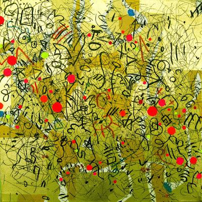 Abstrakte Malerei Zeichen über Gold