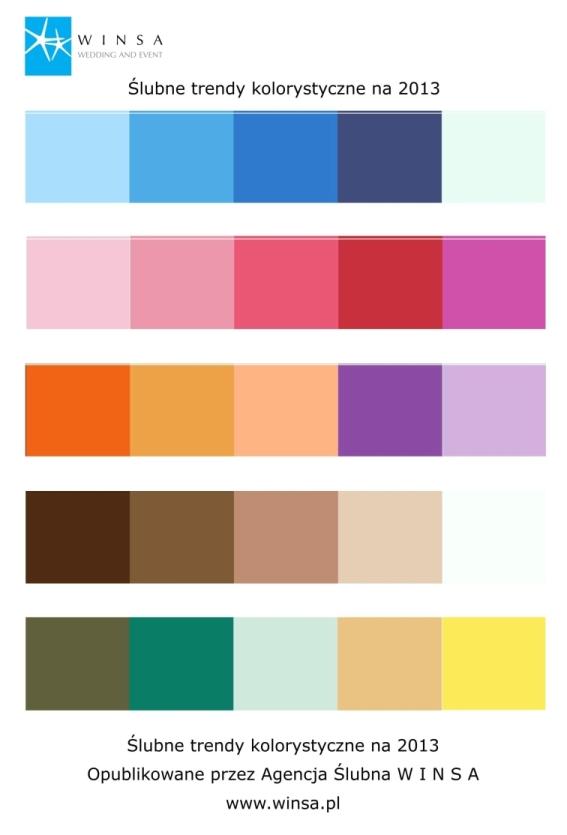 kolory ślubne 2013, modne kolory na ślub, kolory do ślubu, barwy ślubne, kolor przewodni ślubu