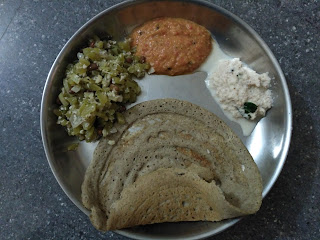 Little millet (Saamai) dosa with  sprouted Black gram and sprouted Fenugreek, Snake gourd black eyed pea sprouts kootu, Tomato chutney, Coconut chutney