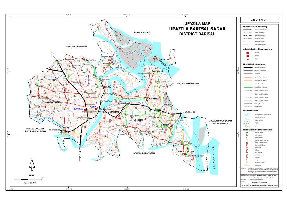 Barisal Sadar Upazila Map Barisal District Bangladesh
