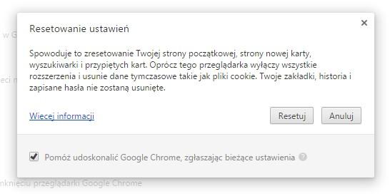 Google Chrome - błąd Kurza twarz!