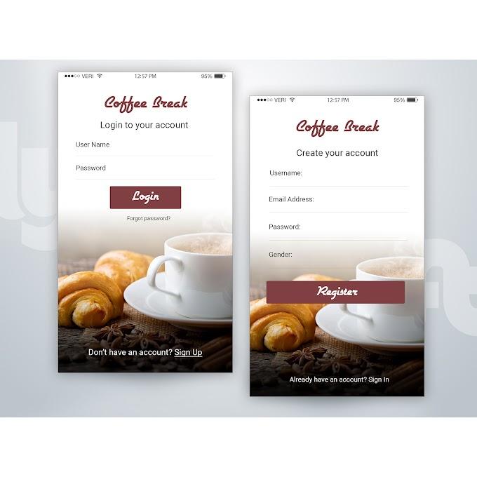coffee break shop Free coffee break mobile ui Free psd
