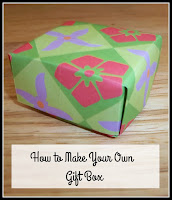 Completed paper gift box, with title text overlayed on top.