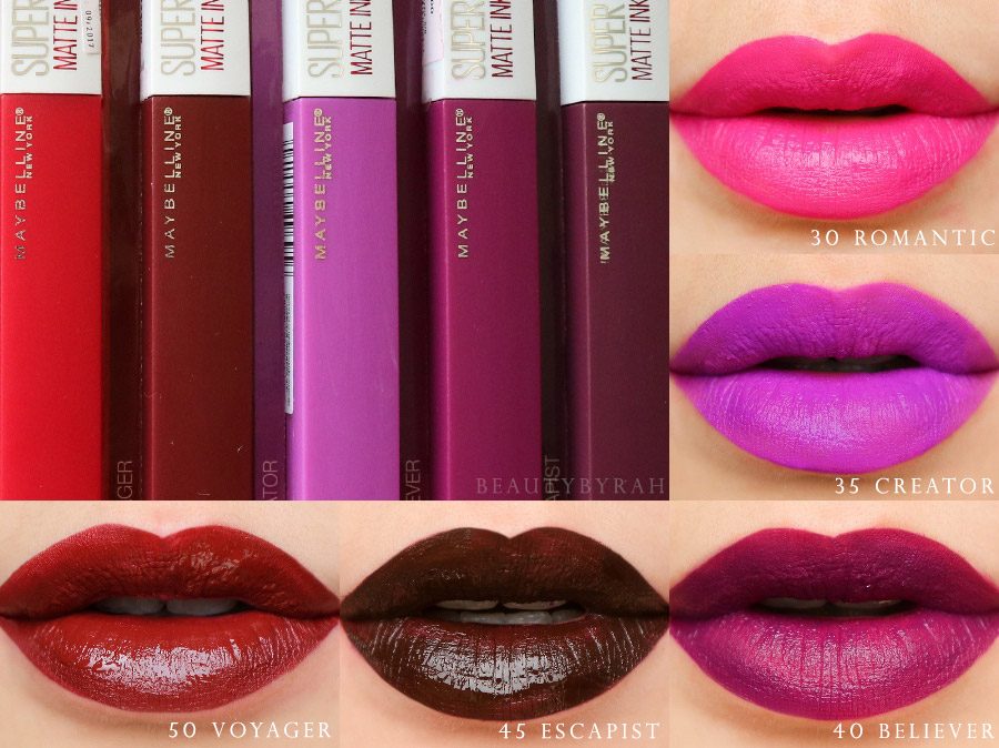 Maybelline SuperStay Matte Ink Lip Swatches in Escapist, Voyager, Believer, Creator and Romantic