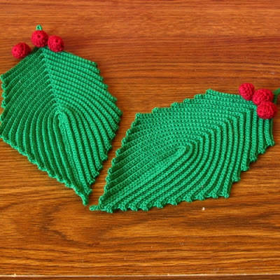 Green Holly Leaves with Red Berries - Hand-Crocheted By RSS Designs In Fiber -- Sold -- email for Custom Order Request