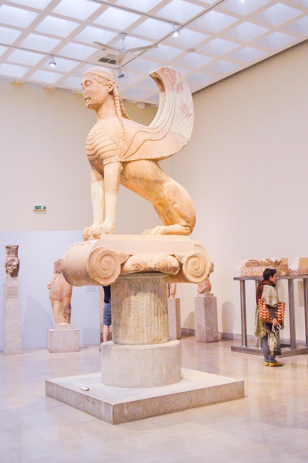 Ruinen Museum Delphi Griechenland Statue