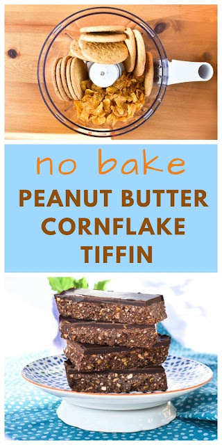 An easy no bake chocolate tiffin made with peanut butter and cornflakes. Printable recipe. #chocolatetiffin #cornflaketiffin #peanutbuttertiffin #chocolatefridgecake #vegantiffin #veganchocolatetiffin #scottishbaking #scottishtraybake