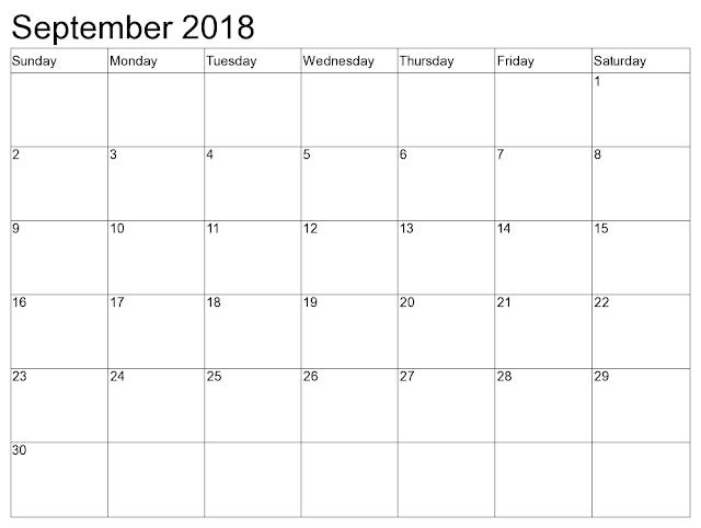 September 2018 Free calendar