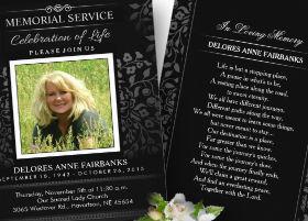 black & white ladies memorial service invitation