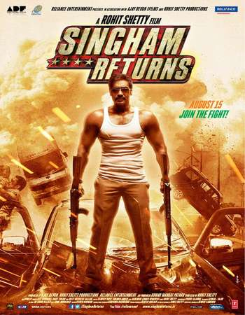 Poster Of Singham Returns 2014 Hindi 720p BRRip ESubs Watch Online Free Download Worldfree4u