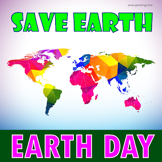 Earth day 2019 Greetings World Map Back ground