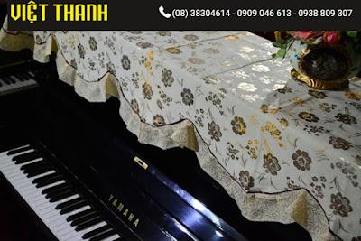 Bán Khăn phủ đàn Piano hoa vàng nhỏ ánh bạc - KU07. Giá rẻ
