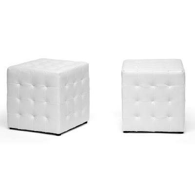 white modern cube ottoman