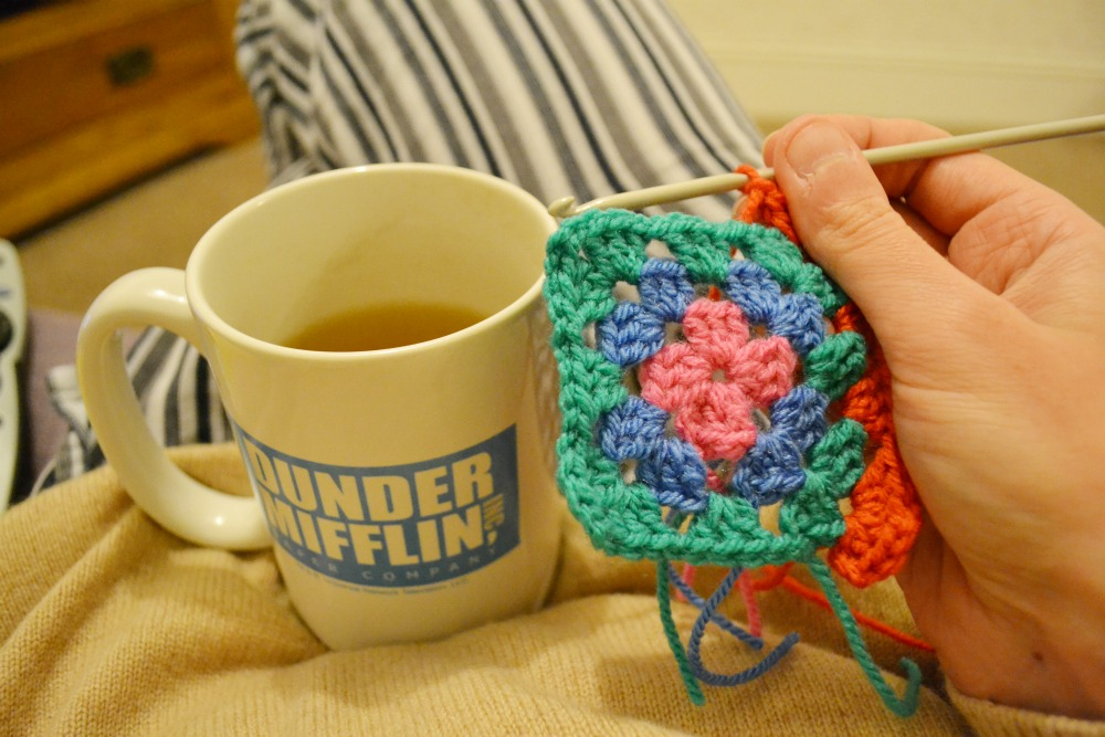 green tea dunder mifflin andy mug crochet granny square