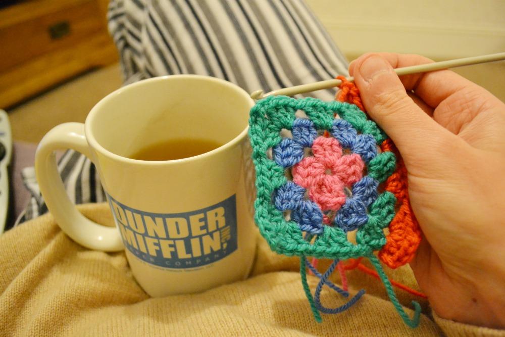 green tea dunder mifflin andy mug crochet granny square