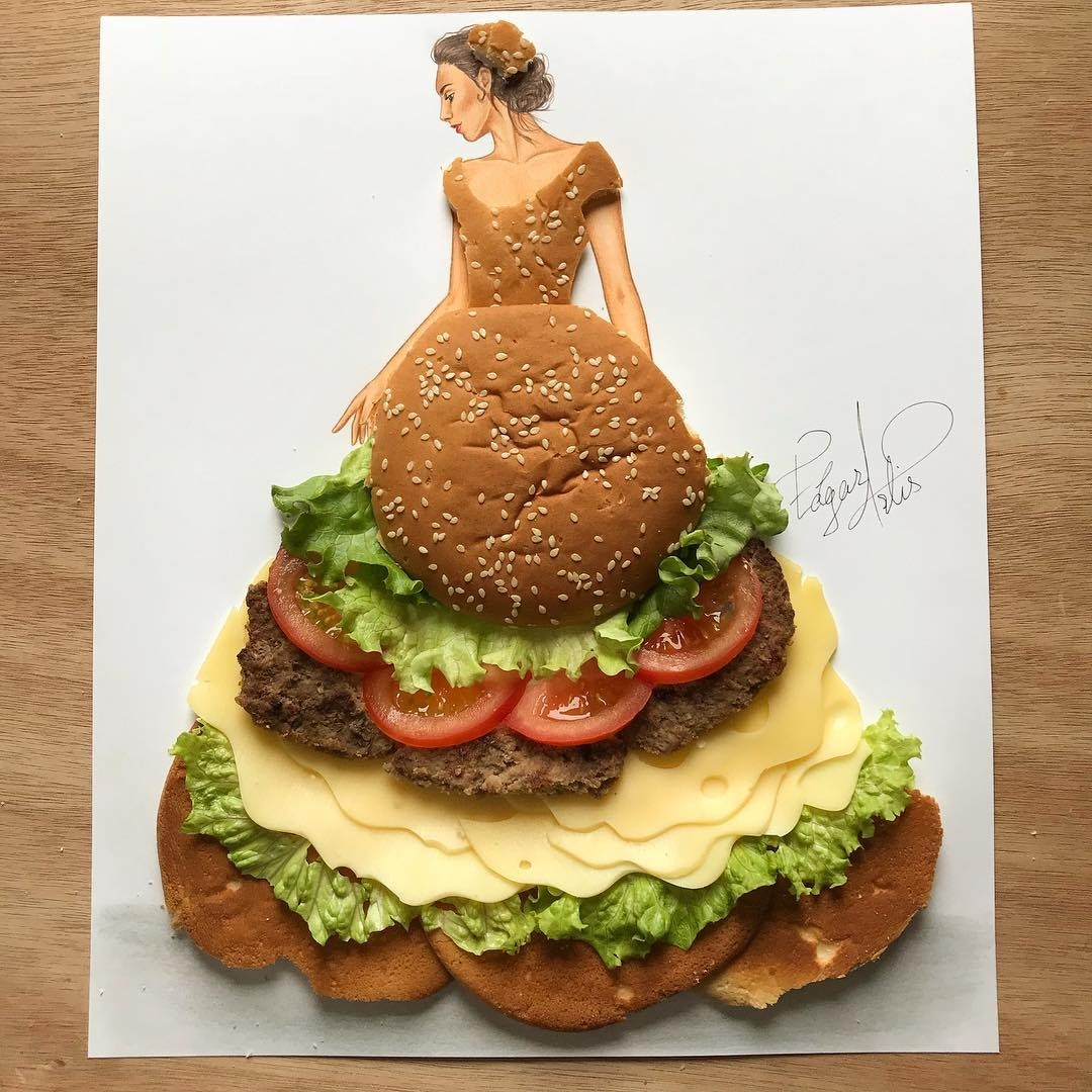 09-Cheeseburger-Edgar-Artis-Multimedia-Drawings-and-Food-Art-Dresses-www-designstack-co