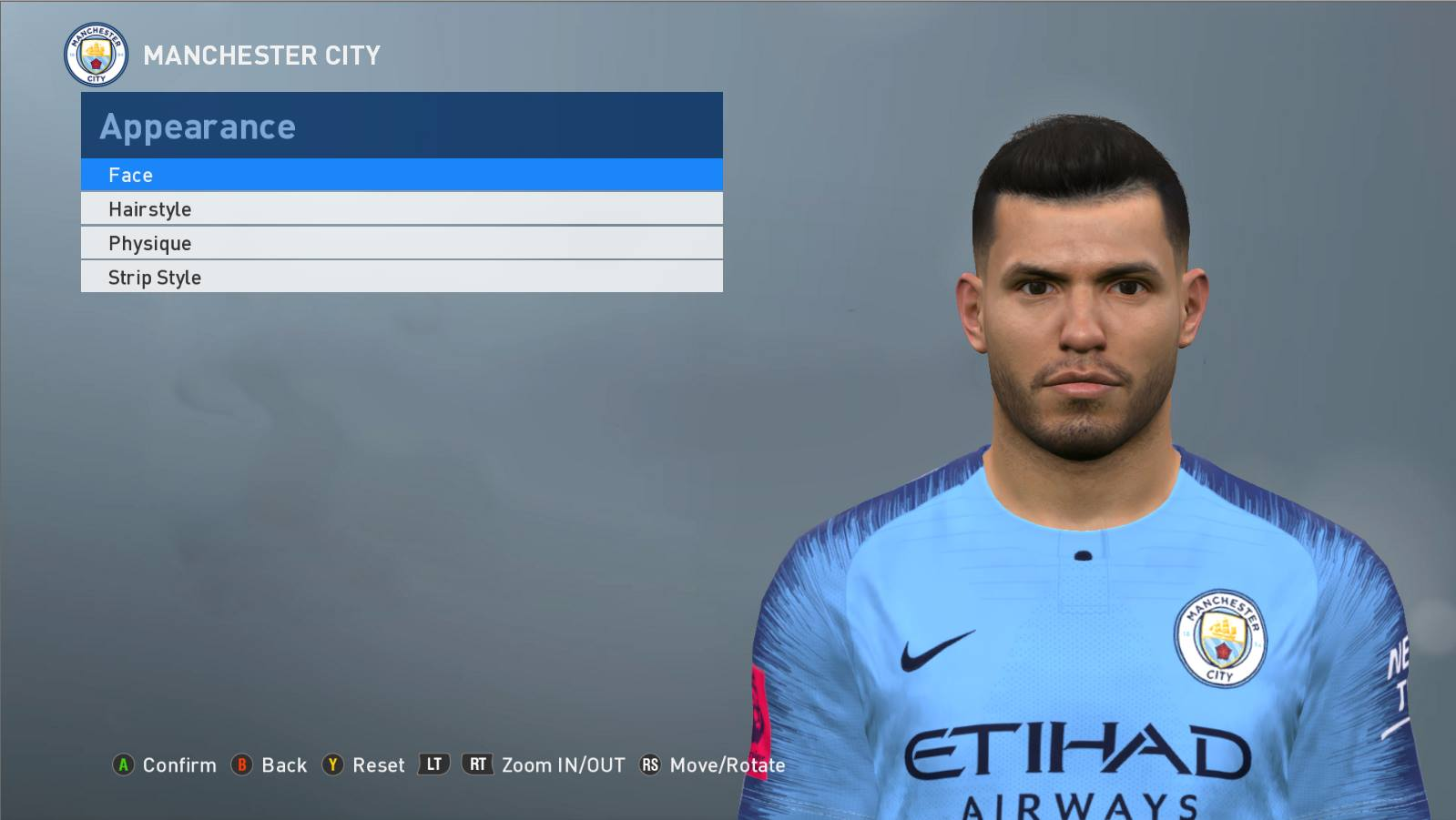 PES 2017 Aguero face convert from PES 2019 by ABW_FaceEdit