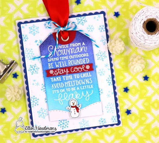 Snowman Card by Ellen Haxelmans | Snowman Advice Stamp Set and Fancy Edges Tag Die Set by Newton's Nook Designs #newtonsnook #handmade