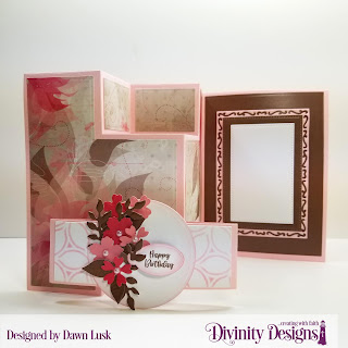 Divinity Designs Stamp Set: Festive Favors Tag Sentiments, Custom Dies: Belly Band, Festive Favors, Half Shutter Card with Layers, Lavish Layers, Pierced Rectangles, Paper Collection: Beautiful Blooms