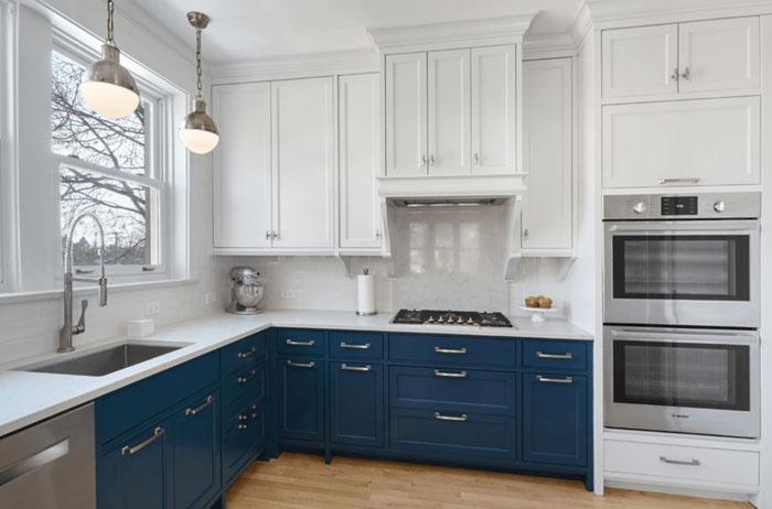 mavi beyaz mutfak dolabı modelleri