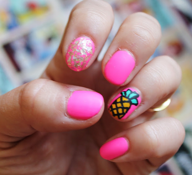 pineapple nail art and happy