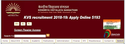 KVS recruitment 2018-19: Apply Online 5193 Vice Principal, PGT, TGT & other Kendriya Vidyalaya Vacancy 2018 at kvsangathan.nic.in